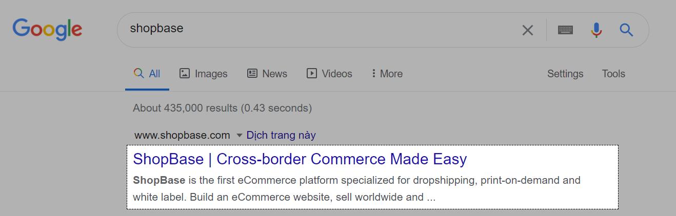 当客户在Google上搜索您的商店时,蓝色的标题和黑色的描述将如上显示