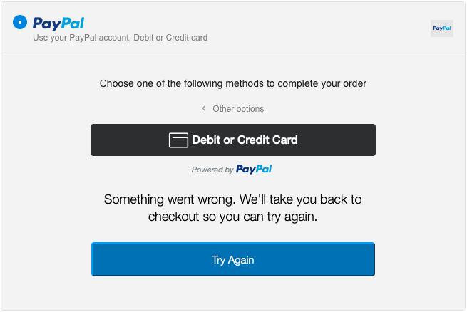 Đây là một báo lỗi trong phần PayPal trên trang thanh toán