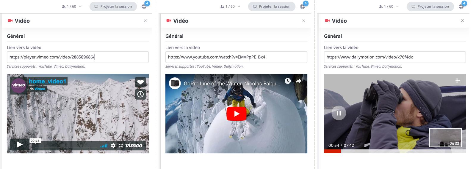 Plusieurs possibilités pour embarquer vos vidéos