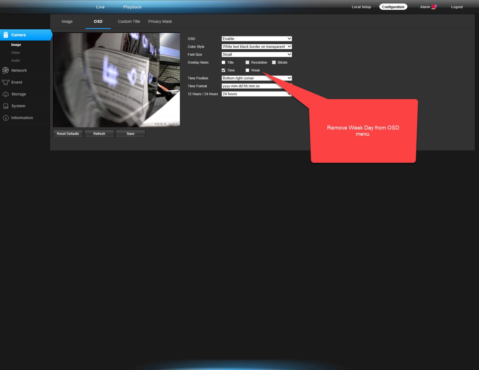 """Remove """"Week"""" option in OSD menu display"""