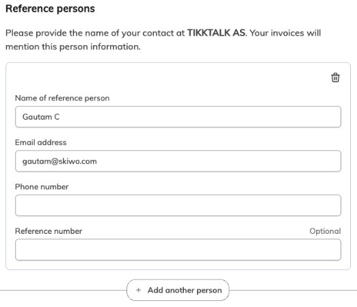 Dodaj nazwę i dane osoby do kontaktu w organizacji.
