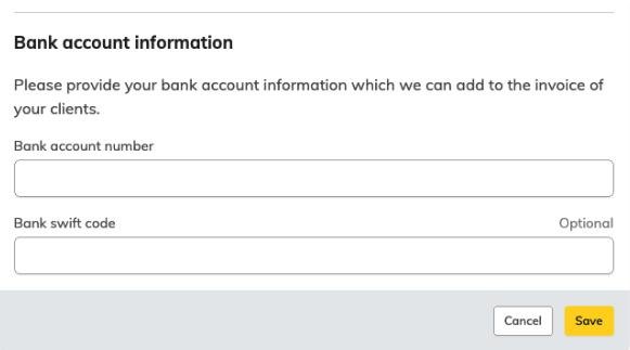 Dodaj dane konta bankowego swojej firmy.