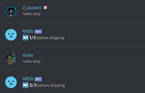Vote to skip command example