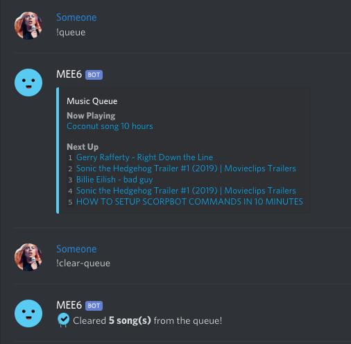 Queue command example