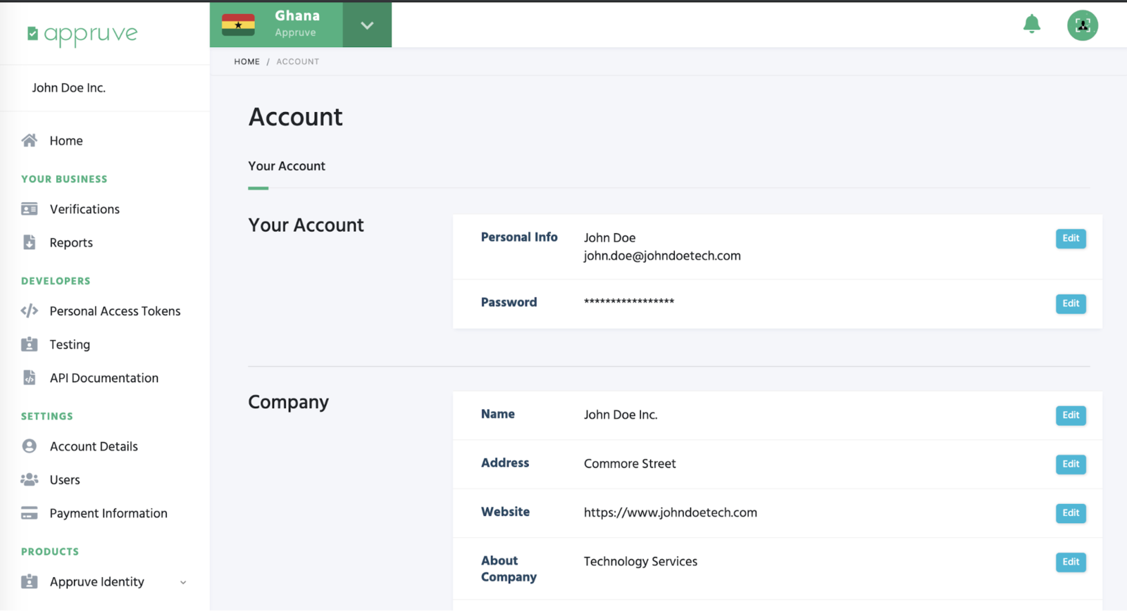 Manage your account here