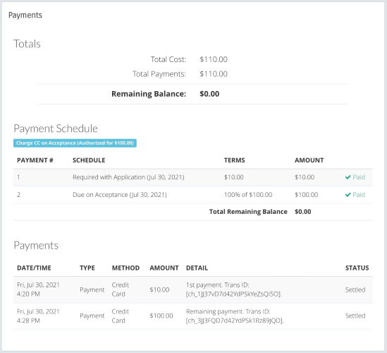 BoothCentral Payment Section