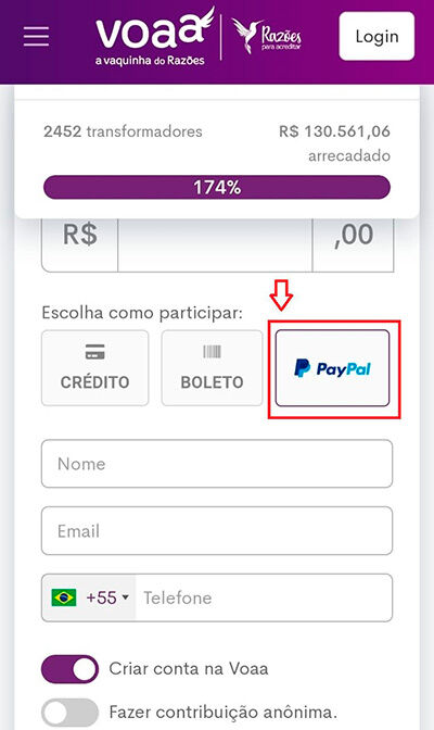 Paypal na VOAA