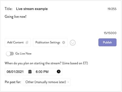 Scheduled Live Stream