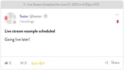 Scheduled stream post