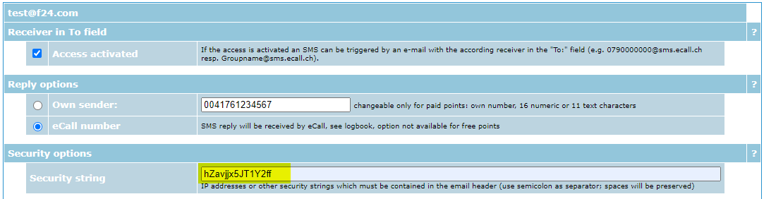 Example: Security keyword set in the security options in the eCall account