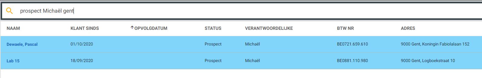 Klant module: Alle prospecten van Michaël in Gent