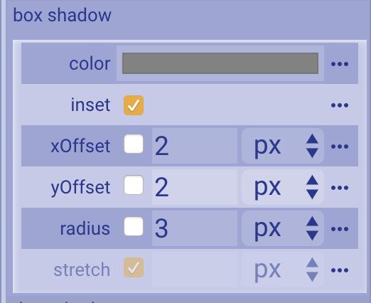 Box shadow property editor
