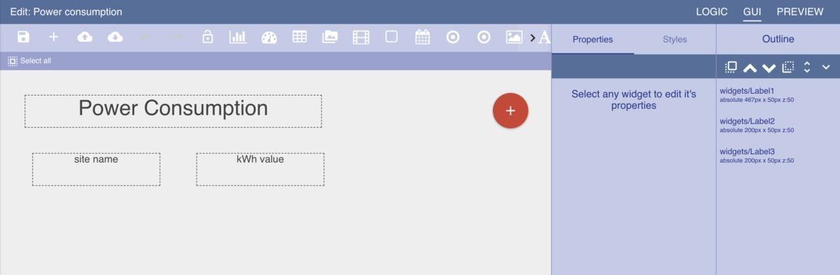 User interface. Gui tab