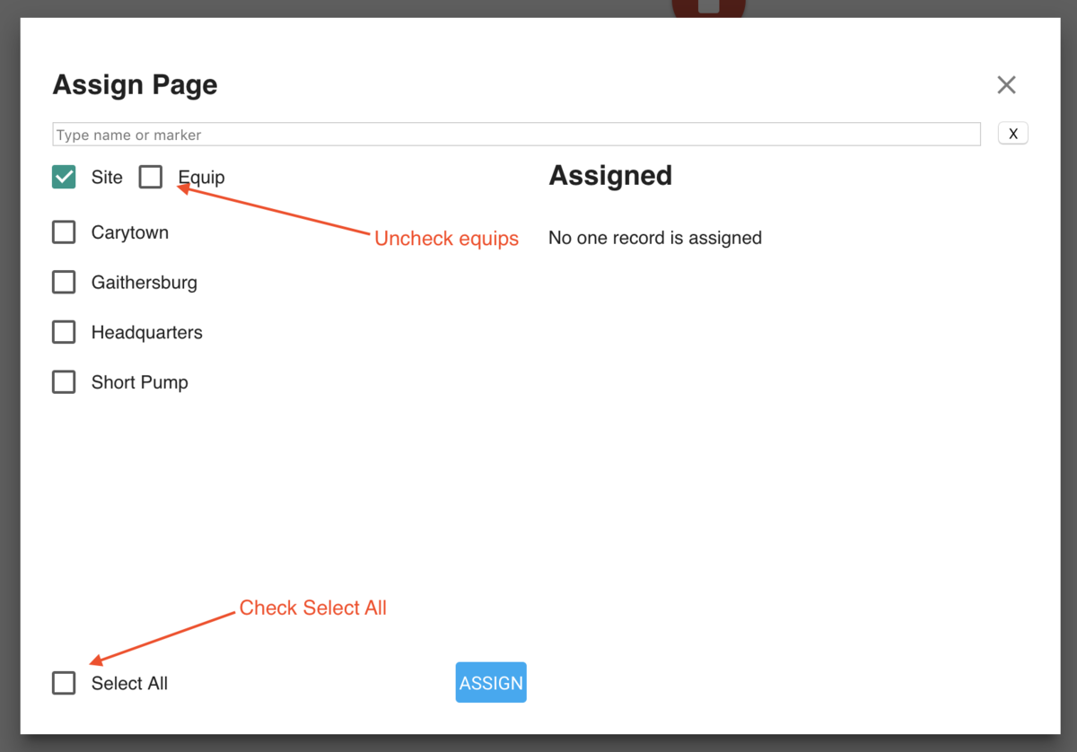 Assigning page