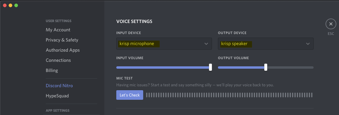Select Krisp in Discord Audio Settings