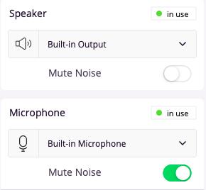 Krispはマイクのノイズをアクティブにミュートしています