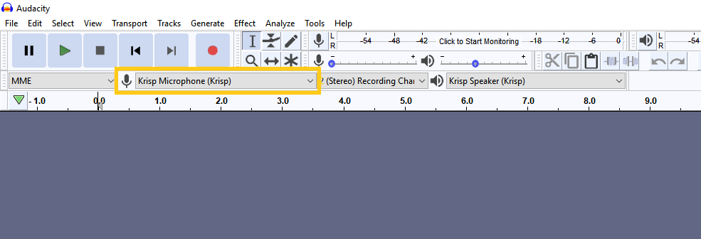 Select Krisp in Audacity audio settings