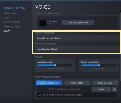Select Krisp in Steam voice settings