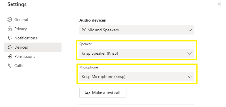 Select Krisp in Microsoft Teams Device Settings
