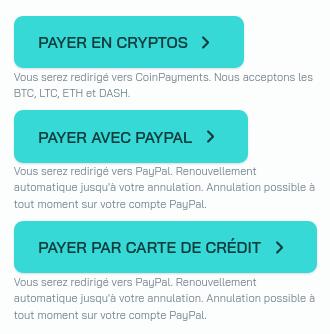 Payer avec PayPal ou par carte de crédit