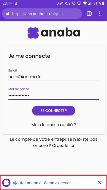 Installer anaba sur Android
