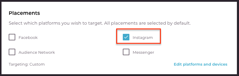 Select Instagram platform