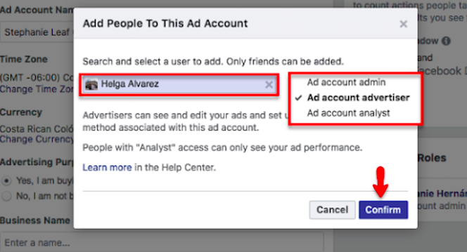 You can also assign roles to an individual on your ad account from here like advertisers or administrators