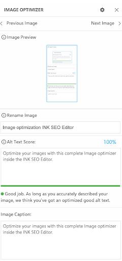 Image optimization INK SEO Editor