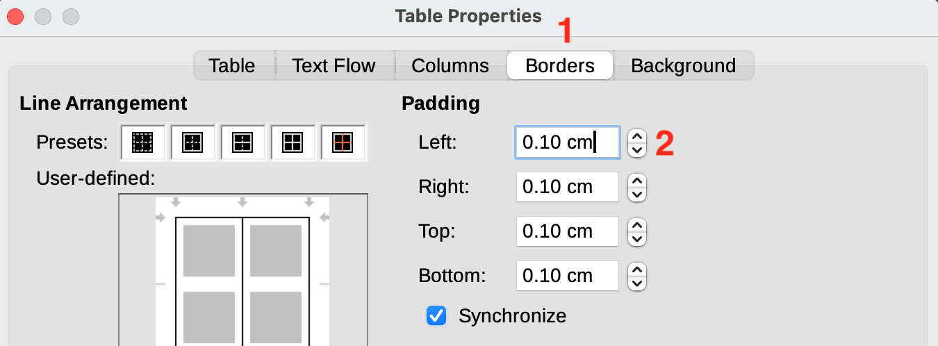 Libre Office - Update table padding