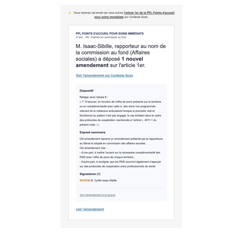 """Alerte """"1 nouvel amendement de rapporteur"""""""
