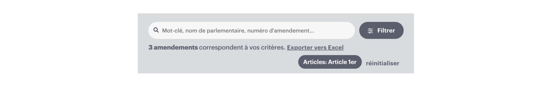 """Filtre """"Article 1er"""" activé sur la liste d'amendements"""