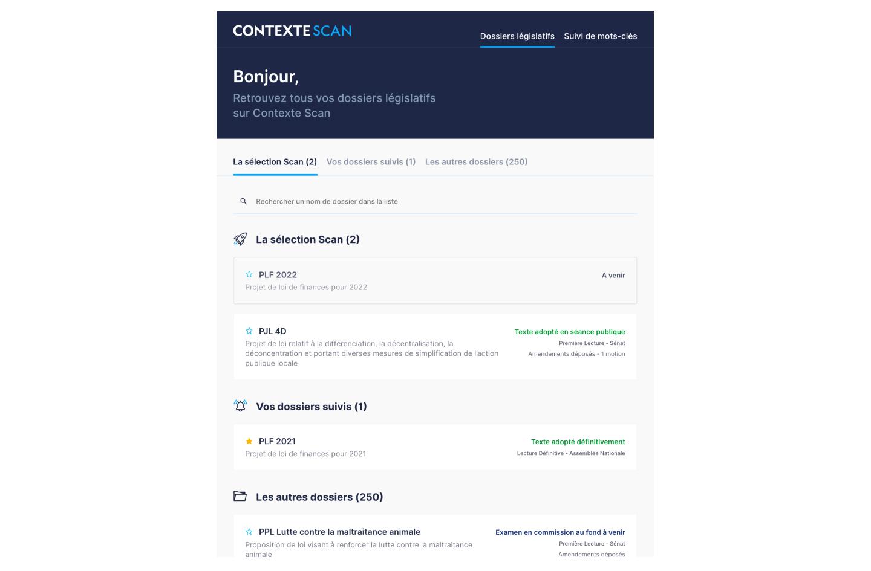 Page d'accueil de Scan