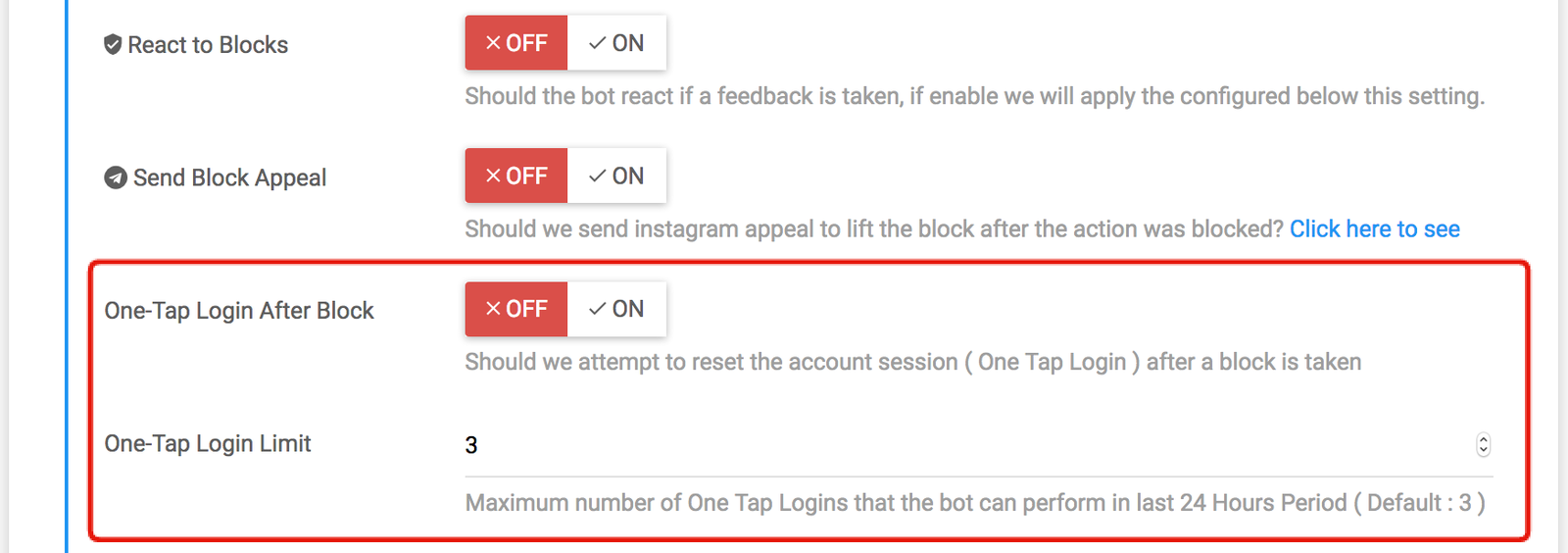 Automate the Session Reset ( One-Tap Logins ) on Feedback Section