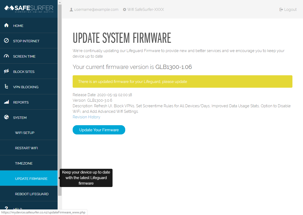 Update Firmware page