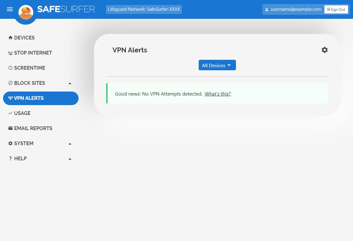 VPN Alerts menu