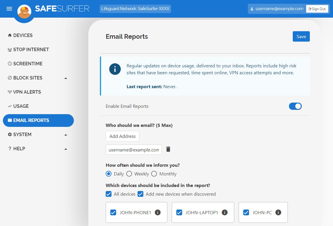 Email Reports menu
