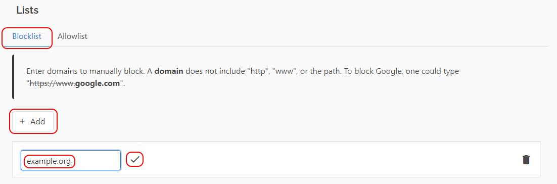Adding a specific domain