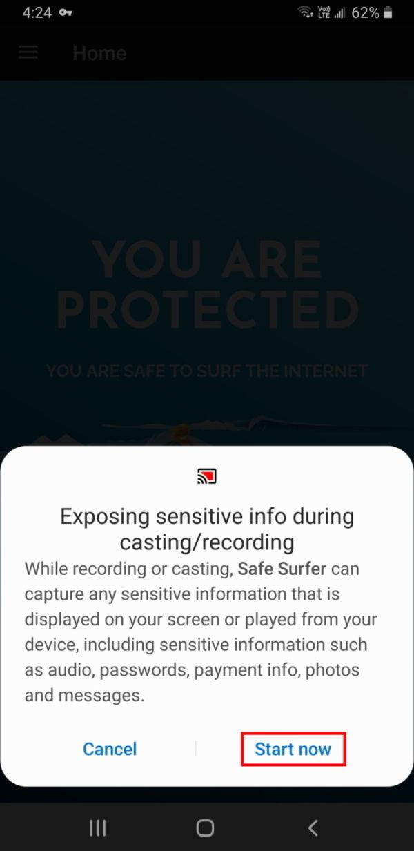 Enabling Screencast warning
