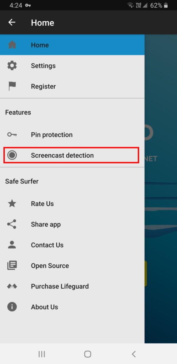 Screencast detection option