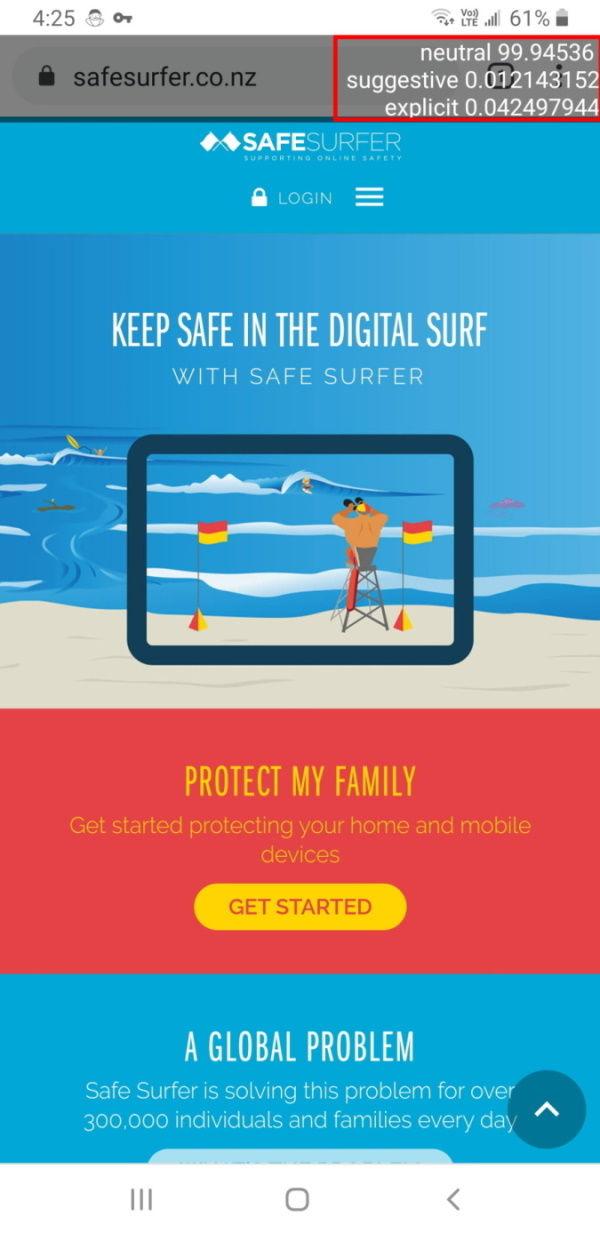 Safe Surfer website with Screencast detection Debug option enabled