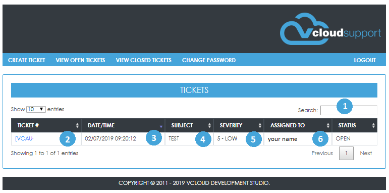 view open ticket page