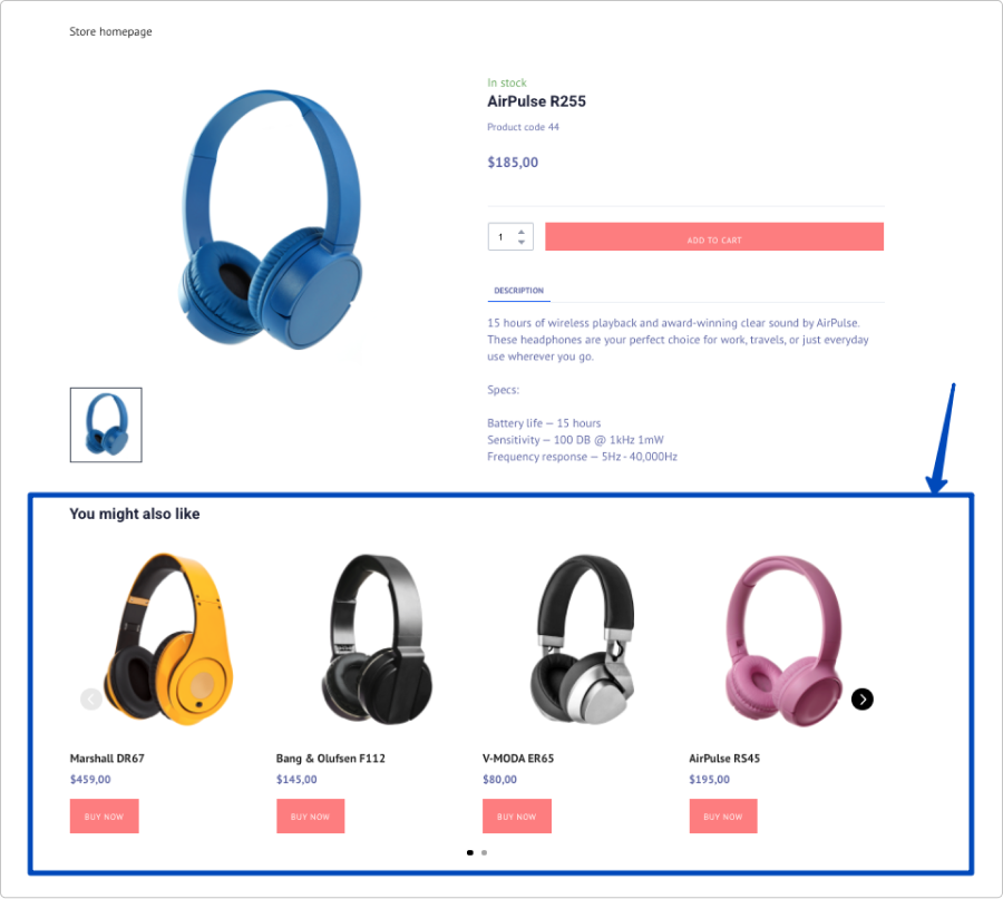 Example of a related products element on a product page