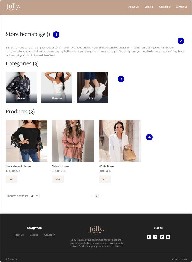 Пример главной страницы магазина