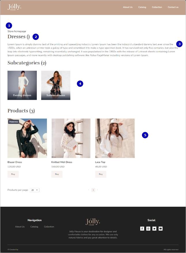 Пример страницы категории
