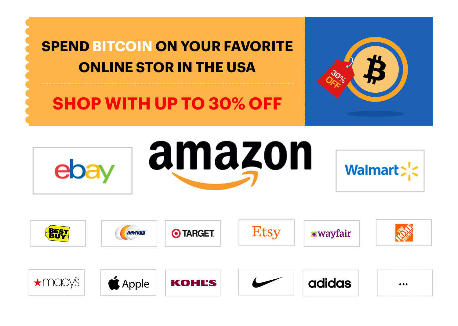 Bitoff supports the most famous and wanted USA Online-stores