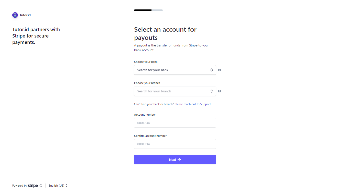 Fig.8 Data to receive your payments.