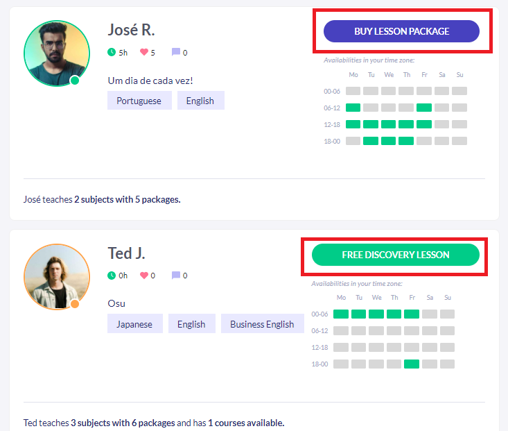 Fig. 3. How your profile will look like in the discovery page