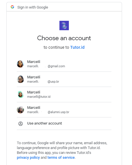 Fig. 5. Choose your Google account