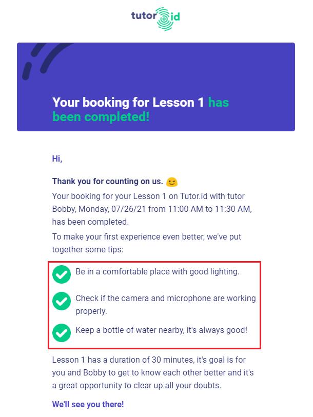 Fig. 5. Booking Request Email Confirmation + Tips.