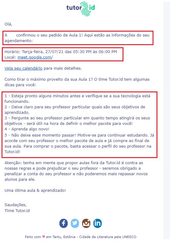 Fig. 6. Email de confirmação do Professor + dicas.